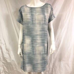 EILEEN FISHER Brush-Print Shift Dress Sheer Silk
